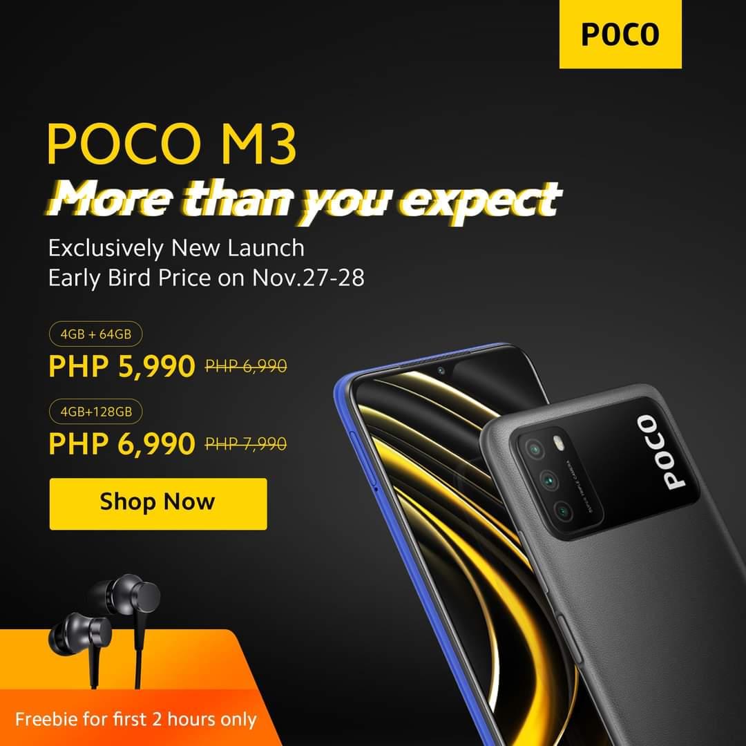 POCO M3 Early Bird Price for only ₱5,990 4 GB RAM 64 GB ROM