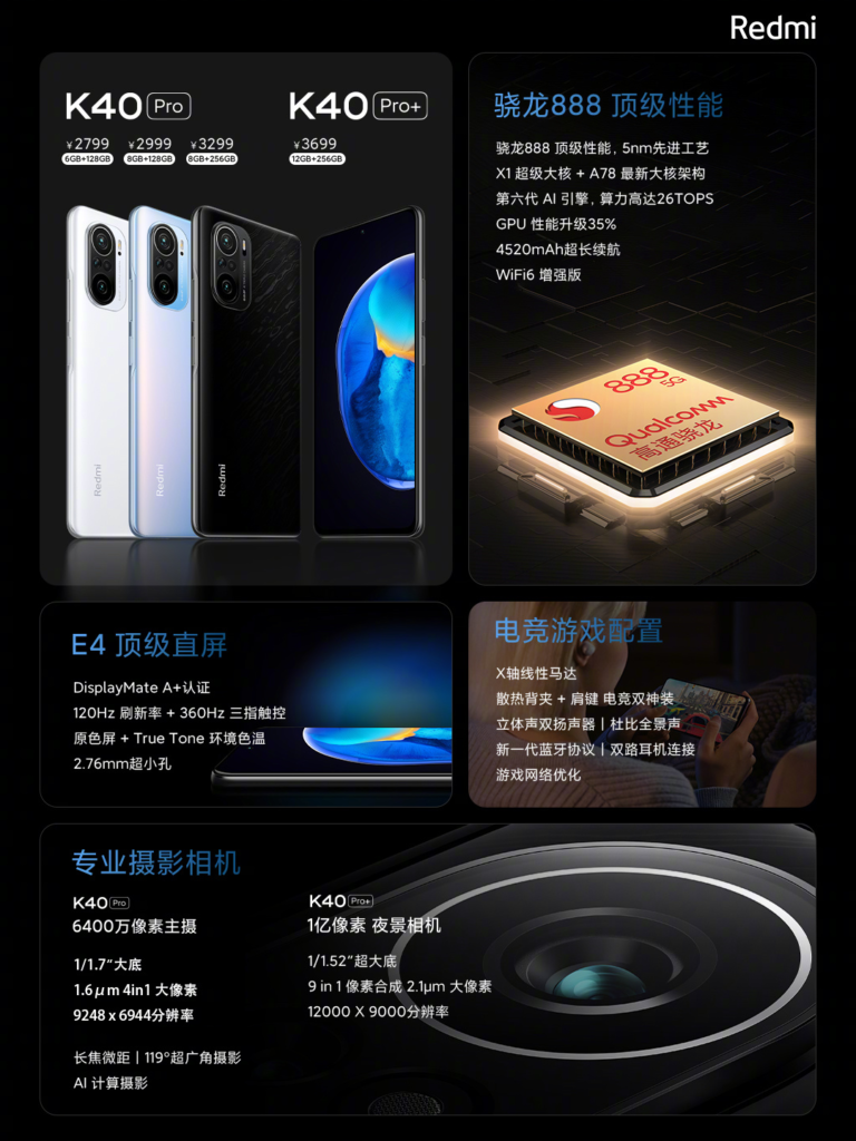 Redmi K40 Pro and Redmi K40 Pro+ specs and price