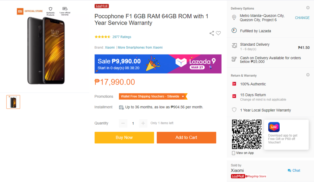 The POCOPHONE F1 back in stock on Lazada for only ₱9,990