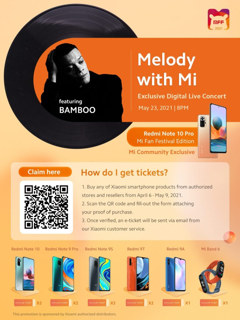 Xiaomi Philippines announces a Digital Live Concert of Bamboo on May 23, 2021